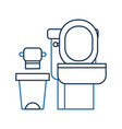 toilet bowl trash can and paper equipment bath vector image vector image