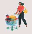 woman with shopping cart full boxes vector image vector image
