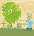 zombie coming out of his grave vector image vector image