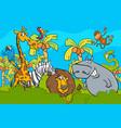 cartoon safari wild animal characters group vector image