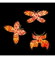 Set of gold butterflies vector image