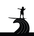 child silhouette surfing on wave in black vector image