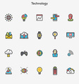Flat line color icons Technology vector image