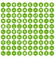100 rags icons hexagon green vector image vector image