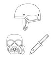 army and armament outline icons in set collection vector image vector image