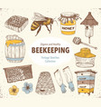 beekeping sketches collection vector image