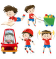 boy in red shirts doing different actions vector image vector image