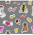 Cute fashion seamless pattern with patch badges vector image vector image