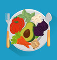 dish with group vegetables vector image vector image