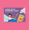 facebook template with international literacy day vector image vector image