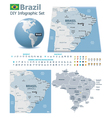 federative republic brazil maps with markers vector image vector image