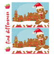Find differences - Gingerbread santa vector image