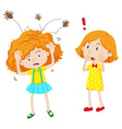 Girl with head lice jumping in her head vector image vector image