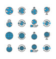 global related in colorline icon set vector image vector image