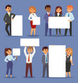 group business people holding presenting empty vector image
