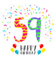 happy birthday for 59 year party invitation card vector image vector image