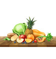 healthy food organic fruit at wooden table vector image vector image