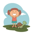 kid with cute mascot vector image vector image