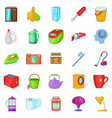 kitchen cleaning icons set cartoon style vector image vector image