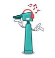 listening music otoscope mascot cartoon style vector image