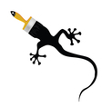 lizard with brush for painting vector image vector image