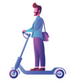 man on electric scooter on white vector image
