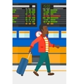 Man walking with suitcase vector image