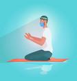 muslim man in mask praying ramadan kareem holy vector image vector image