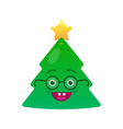 nerd christmas tree isolated emoticon vector image