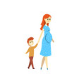 pregnant woman walking with her son happy family vector image vector image