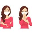 sad beautiful woman wearing protective mask vector image vector image