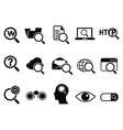 searching icons set vector image vector image