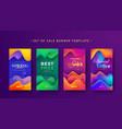 set social media stories sale banner design vector image