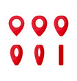 set vertical rotation red location marks map vector image