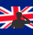 solder silhouette on blur background with britain vector image vector image