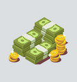stacked pile of cash with coin vector image vector image