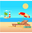 summer beach umbrella chair lighthouse background vector image
