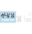 thank you panda postcard cute asian adorable vector image vector image