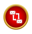 Two envelopes icons up and down arrows icon vector image