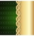 Vintage gold and green background with laurel vector image vector image