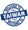 welcome to taiwan blue stamp vector image vector image