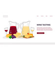 wine tasting landing page vector image vector image