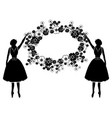 women silhouette with flourishes vector image