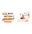 young and senior women sitting on their beds vector image vector image