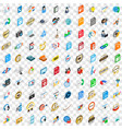 100 hi-fi icons set isometric 3d style vector image vector image