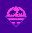 80s palm trees at sunset summer time retro vector image vector image