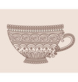 A cup of patterns on light brown background vector image