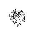 angry roaring black and white lion head logo vector image vector image
