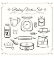 Baking food ingredients and kitchen tools in hand vector image vector image