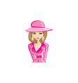 beautiful fashionable girl in hat design vector image